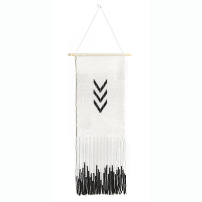 Unique black and white beaded wall hanging