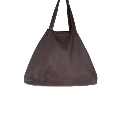 Back of Chocolate Leather Nicola Horn Flap Bag