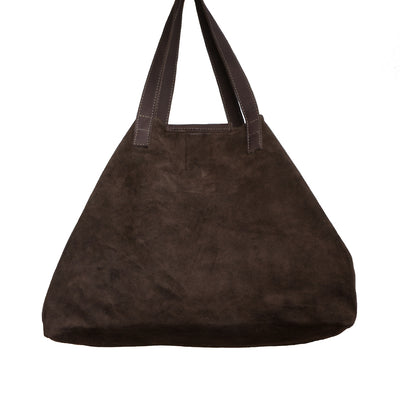 Back of Nicola Horn Flap Bag Chocolate Suede