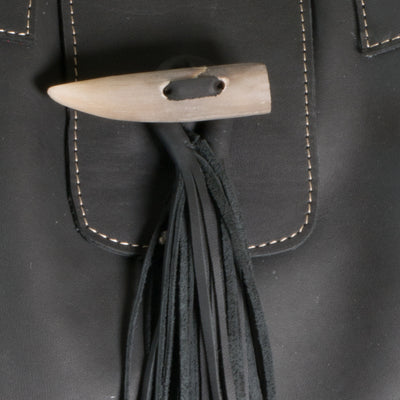 Black Leather Nicola Horn Flap Bag Close Up of Detail