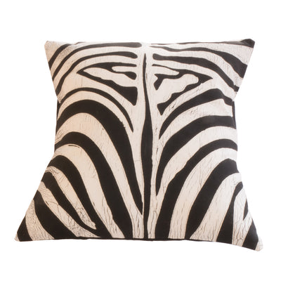 Zebra patterned rawhide cushion cover in Black and White