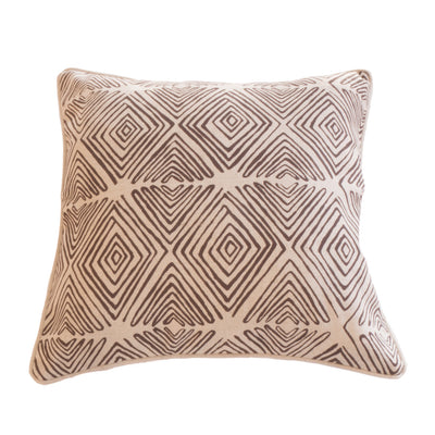 Diamond patterned cushion cover in Chocolate on Linen