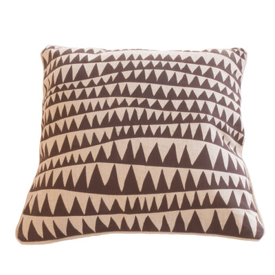 Zigzag cushion cover in chocolate on linen