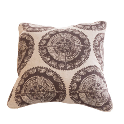 Ivory Disk Cushion Cover in Chocolate on Linen