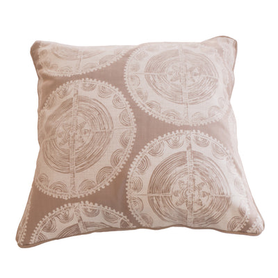 Ivory Disk Cushion Cover in Linen on Dove Background