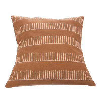 Rake Design Cushion Cover inspired by African Mud Cloth. Mushroom and White