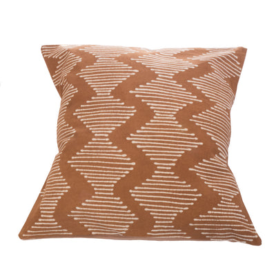 Mushroom and White Wave Lined Tribal Cushion Cover