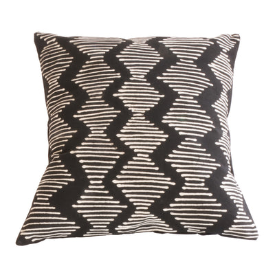 Black and White Wave Lined Tribal Cushion Cover
