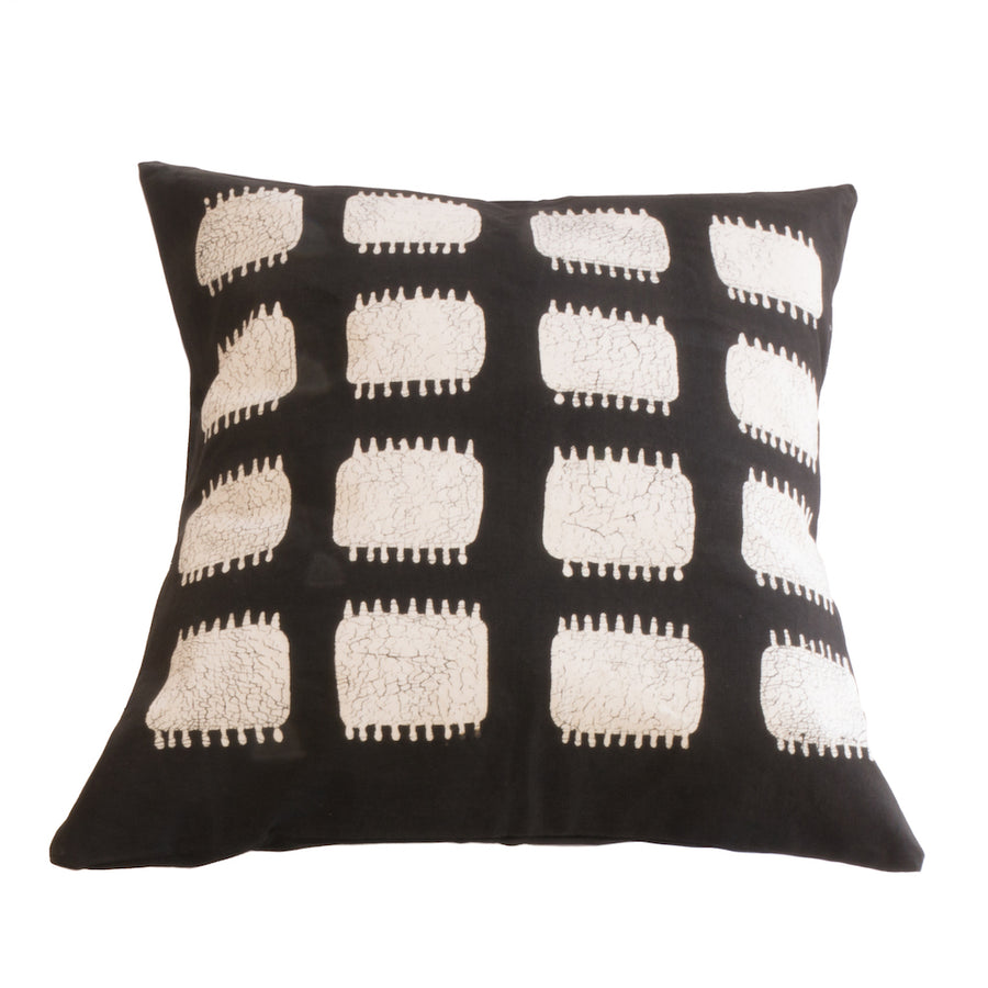 Mushroom and White Spikes Tribal Cushion