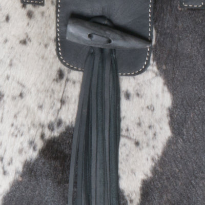 Black Cowhide Nicola Horn Flap Bag Close up