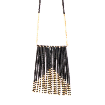 striking necklace hand beaded gold and black