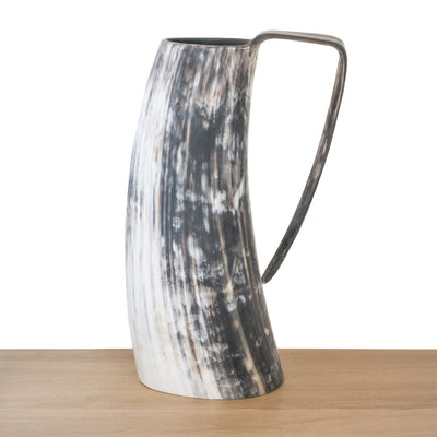Dark coloured Ankole cow horn pitcher or jug with streaks of white /ivory, light and chocolate brown