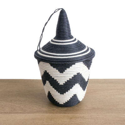 Rwandan Peace Basket Black and White ZigZag