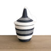 Rwandan Peace Basket Black and White Stripes