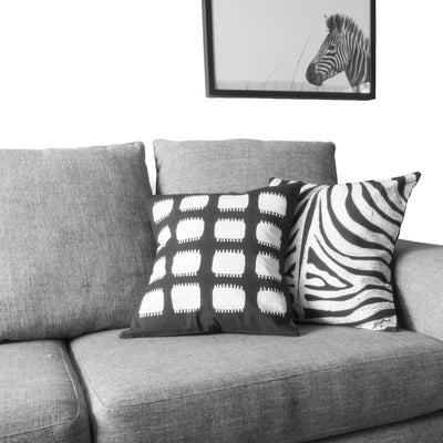 Spikes and Zebra Rawhide cushion styled