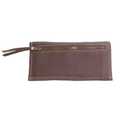 Cowhide Ticket Wallet with Chocolate Leather