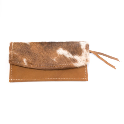 Cowhide Ticket Wallet with Toffee Leather