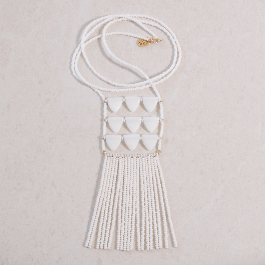 unique white handmade necklace by Maasai