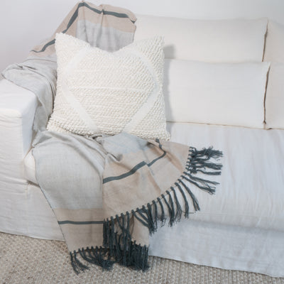 Charcoal Uluru Bamboo Throw Styled