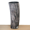 Dark coloured Ankole cow horn vase with streaks of white /ivory, light and chocolate brown