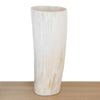 White or ivory coloured Ankole cow horn vase with streaks of light brown