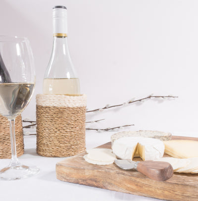Wine Bottle Holder Styled with Wine and Cheese