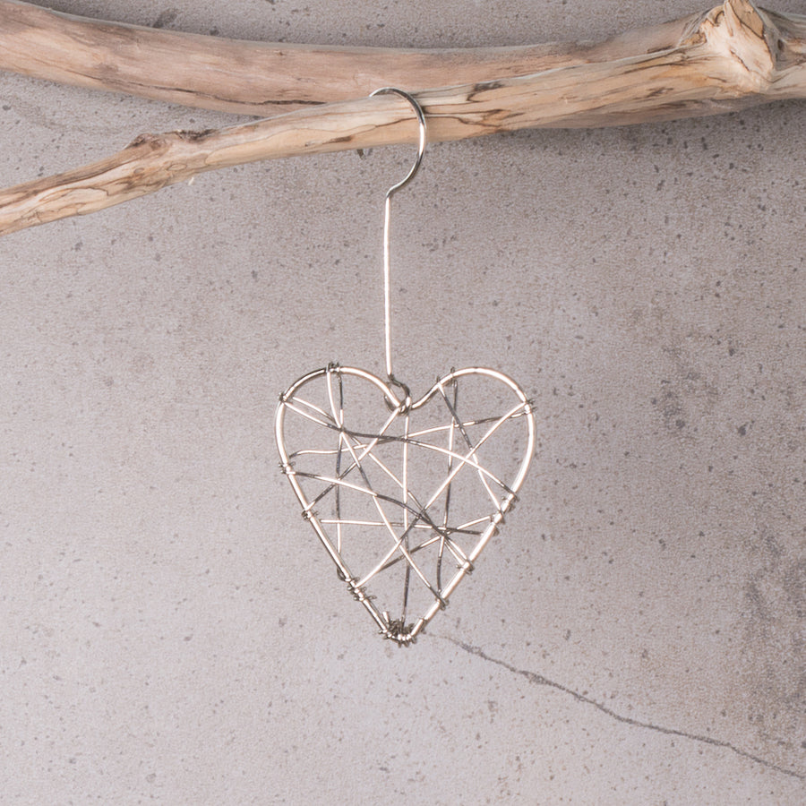 Heart Silver Wrapped Christmas Decoration (Electroplated)