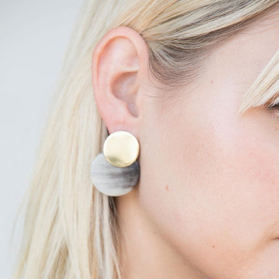Contrast Coin Stud Earrings Styled