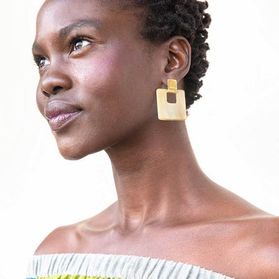 Horn Door Knocker Earrings Styled