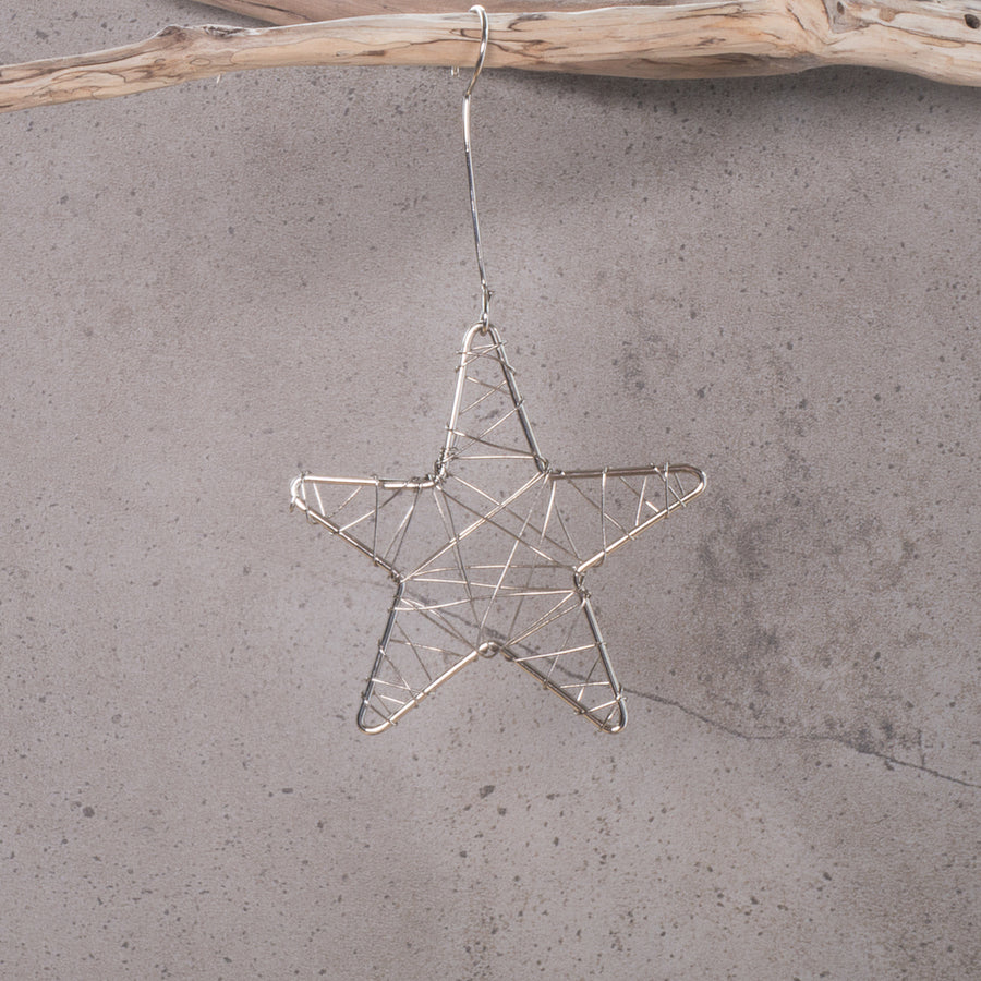 Star Silver Wrapped (Electroplated) Christmas Decoration