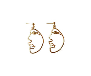 THE DIEGO FACE EARRINGS GOLD