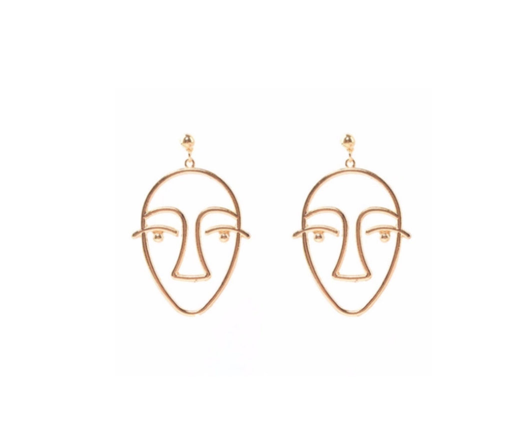 THE BIG HENRI FACE EARRINGS GOLD