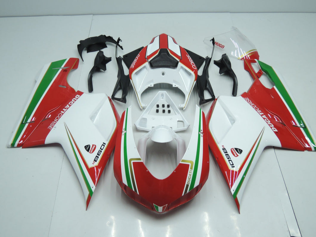 DUCATI 848 1098 1198 2007 2012 WHITE AND RED WITH GREEN STRIPE