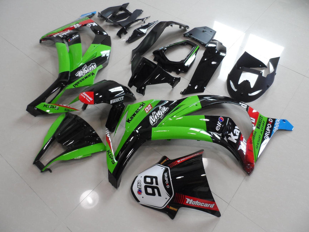 ZX 10R 2011 2014 GREEN BLACK WITH NUMBER 66
