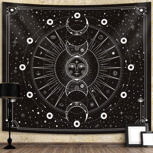 Sun Moon Tapestry Wall Hanging Stars Space Psychedelic Black and White Wall Tapestry for Bedroom Home Wall Décor (51.2x59.1 Inches, 130x150 cm)