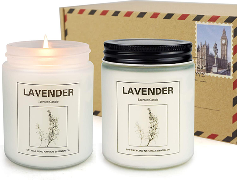 Scented Candles, Natural Soy Jar Candles Gift [2 Pack] (Lavender)