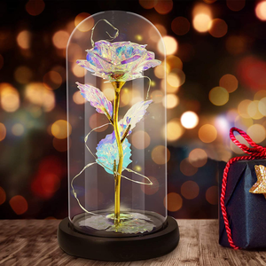 Galaxy Rose Artificial Flower Rose Colorful, NICEAO Led Light String Flashing Flower, Forever in Glass Dome, Unique Gifts for Women, Wedding, Valentine's Day, Anniversary Birthday (Rainbow)