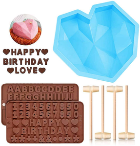 Diamond Heart Shaped Mousse Cake Mold Trays, 8.7 inch Silicone Dessert Baking Pan Safe Not Sticky Mould with 4 Pcs Wooden Hammers and 2 Chocolate Molds for Valentine Candy Chocolate Making (Blue)