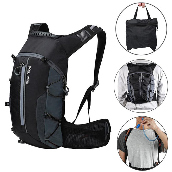 WEST BIKING 10L Foldable Waterproof Bike Backpack Hydration Water Backpack for Running Cycling Hiking
