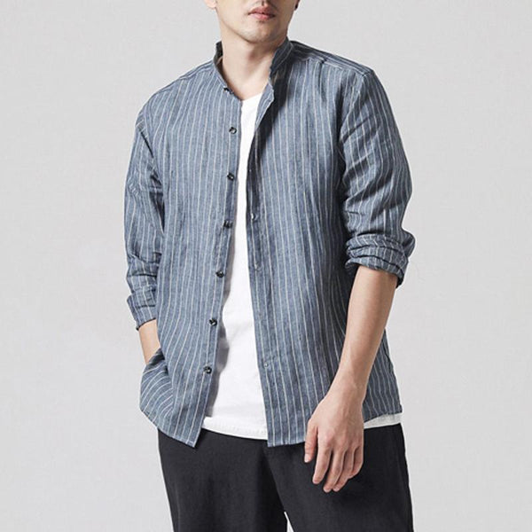INCERUN Mens Vertical Striped Printing Spring Autumn Shirts