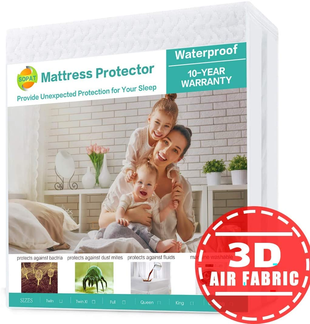 Mattress Protector Queen 100% Waterproof Mattress Pad Cover 3D Air Fabric Breathable Smooth Soft Cover Premium Fitted Mattress Protector Elastic Deep Pocket Vinyl Free