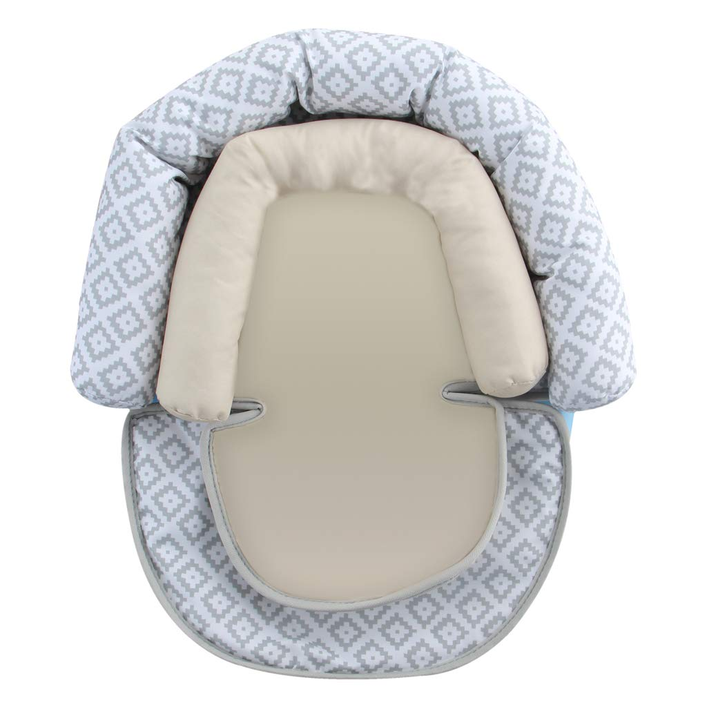 Infant Head Body Support Pillow, KAKIBLIN Cotton Baby Seat Pad for Car Seat Stroller (Gray Star)