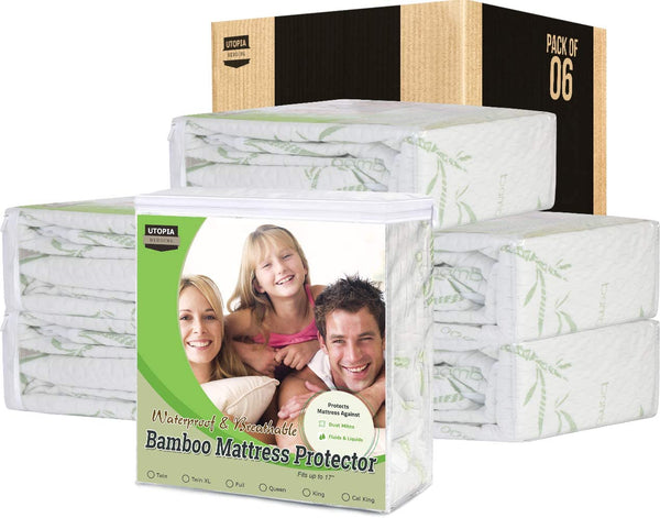 Bamboo Mattress Protector – Breathable and Waterproof Mattress Cover - Smooth Grip - Fits 17 Inches Deep - Easy Care (Queen)