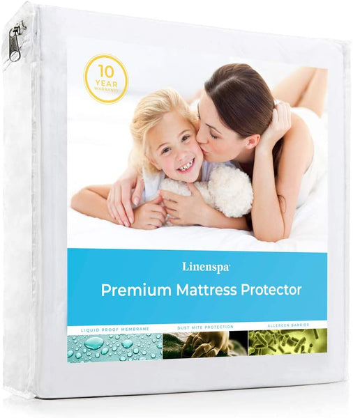 Premium Smooth Fabric Mattress Protector-100% Waterproof-Hypoallergenic-Vinyl Free Protector, Full, White