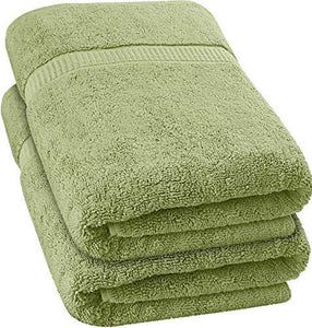 Luxurious Jumbo Bath Sheet (35 x 70 Inches, Sage Green) - 600 GSM 100% Ring Spun Cotton Highly Absorbent and Quick Dry Extra Large Bath Towel - Super Soft Hotel Quality Towel (2-Pack)