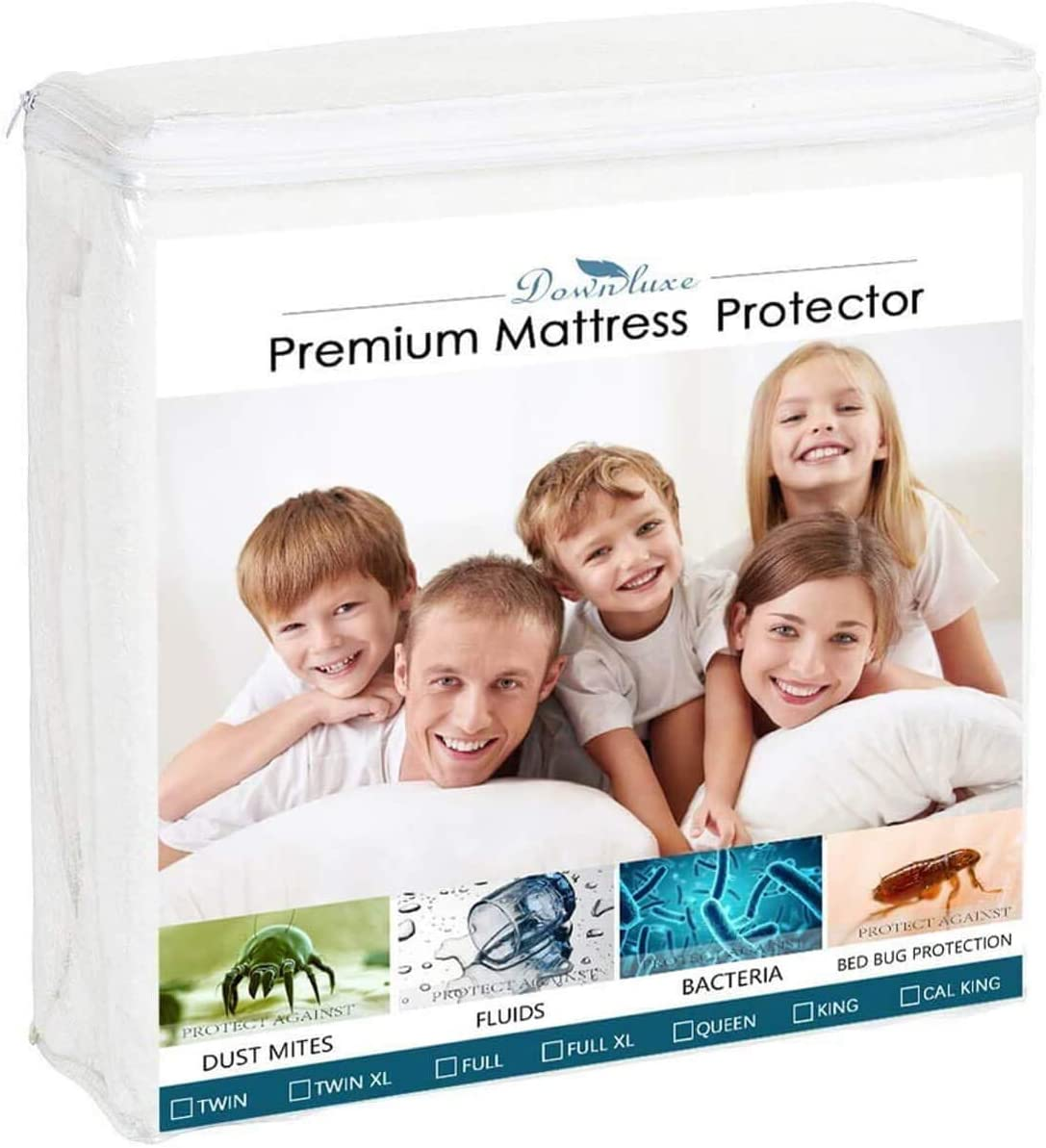 Premium Hypoallergenic Waterproof Mattress Protector - Mattress from Liquids, Dust Mites, and Allergens - Fitted Cotton Terry Cover (Full)