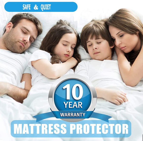 "Full Size Premium Waterproof Mattress Protector, Breathable Cotton Terry Surface Mattress Cover, Deep Pocket Stretch to 16"" Noiseless Bed Cover - 10 Year Quality Assurance"