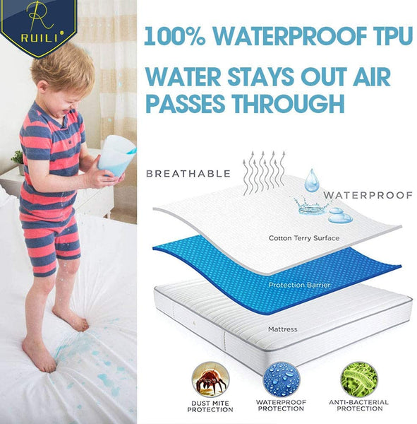 "Cal King Size Premium 100% Waterproof Mattress Protector-Vinyl Free, Deep Pocket Stretch to 16"" Cotton Terry Waterproof Mattress Cover, Safe Fitted Mattress Protector - 10 Year Quality Assurance"