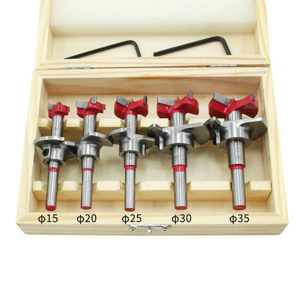 Drillpro 5Pcs Forstner Drill Bit Set 15 20 25 30 35mm Wood Auger Cutter Hex Wrench Woodworking Hole Saw For Power Tools