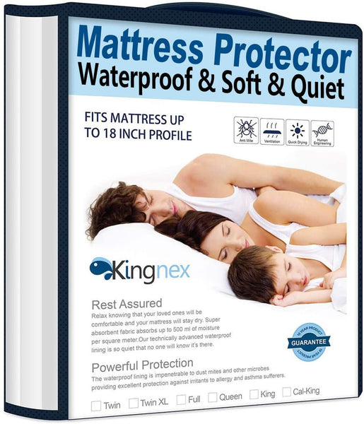 "Waterproof Bamboo Mattress Protector Full Size - Fitted 8-18"" Deep Pocket Hypoallergenic Breathable Mattress Cover"